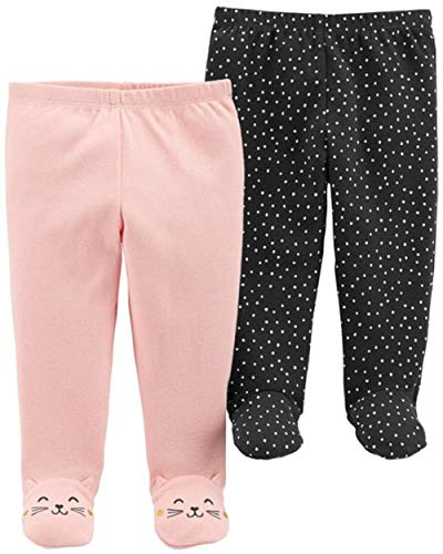 - Carter's Baby Girls' 2 Pack Pants (Pink/Grey, 3 Months)