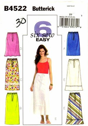 Butterick 4522 Sewing Pattern Misses Skirts Straight A-line Drawstring Size 16 - 18 - 20 - 22 Bias Cut Elastic Waist Skirt