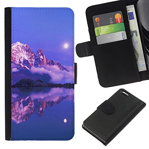 Lead-Star (Nature Pink Sunset Mountain) Colorful Impression Holster Cuir Wallet Cover Housse Peau Cas Case Coque Pour Apple iPhone 5C