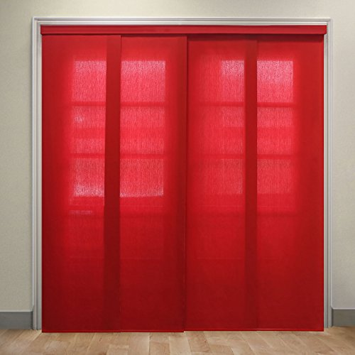 Chicology Deluxe Adjustable Sliding Panels, Cut to Length Vertical Blinds, Allure Crimson (Light Filtering) - Up to 80
