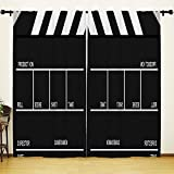 YOUHOME Window Curtain for Living Room,Movie&Cinema lapper board Curtains Home Decorations for Bedroom Kids Room 2 Panels Set,54x84inch,White,Black