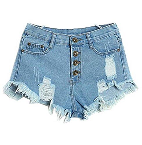Haute Clair Jean Bleu Short Plage Taille Short Et Hot Ample Trous Femme COMVIP Basique 0XqOHH