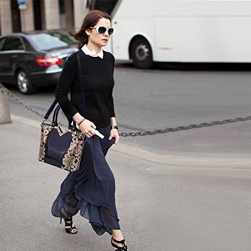 Tisdaini Besace Sac Cuir décontractés Femme Sac Grand bandoulière Mode Marée Sac à Main Sac Bleu PU Cabas à rWr8RaY6