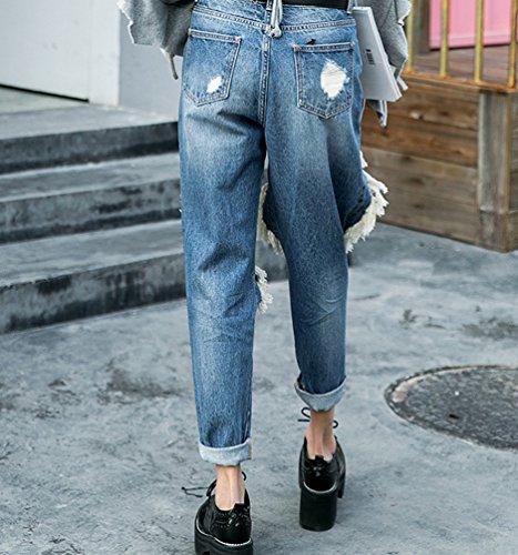 Boyfriend Un Pants Zhiyuanan Grosso Casual Loose Baggy Buco Jean Sul Ginocchio Con Jeans Matita Blu Dritti Denim Moda Donna Rotti Pantaloni Fit 6IqwWnprIE