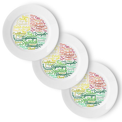 Healthy Eating Plate (3 Pack) | Beautifully Designed Portion Control & Food Ideas for Sustainable Weight Loss | 10 inches - Easily Follow a Balanced Diet