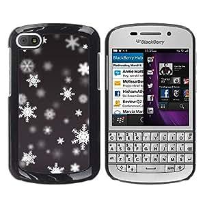iKiki Tech / Estuche rígido - Winter Pattern Snowing - BlackBerry Q10