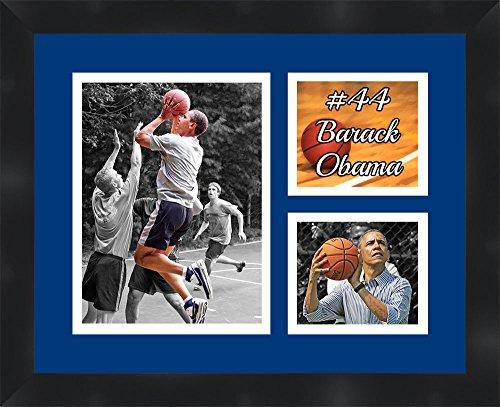 Barack Obama Framed 11 x 14 Matted Collage Framed Photos Ready to hang - Barack Obama Basketball