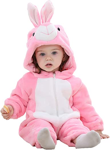 chinatera Baby Boys Girls Easter Rabbit Shape Zipper Hooded Romper Toddler Jumpsuit