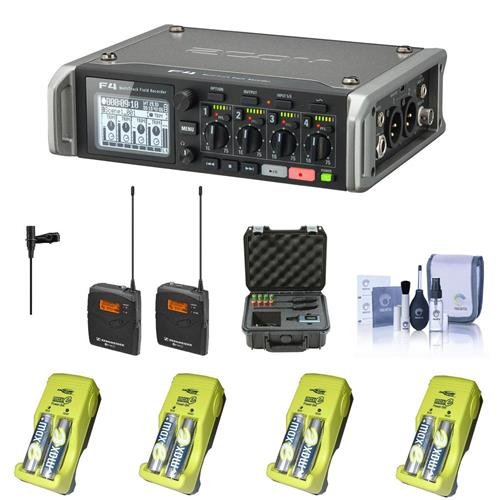 Zoom F4 Multitrack Field Recorder with Timecode - Bundle With Sennheiser ew 112-p G3-A Wireless Kit EK 100 G3, 8x AA Ni-MH Batteries With Charger, SKB iSeries Sennheiser SW Mic Case, Cleaning Kit by Zoom