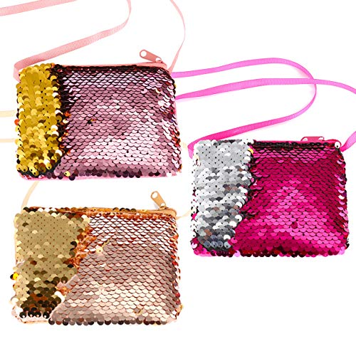 Ayliss Sequin Coin Purse Reversible Glitter Paillette Change Wallet Crossbody Mini Pouch Bag for Teen Girls/Kids (Pink+Rose+Champagne(3 pouches))