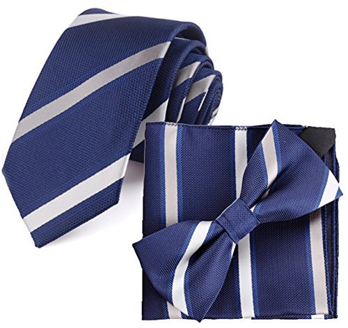 Flairs New York Collection Neck Tie (Midnight Blue / Platinum Silver ()