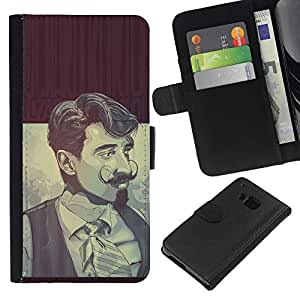 KLONGSHOP // Tirón de la caja Cartera de cuero con ranuras para tarjetas - hombre con barba Selenastrum - HTC One M7 //