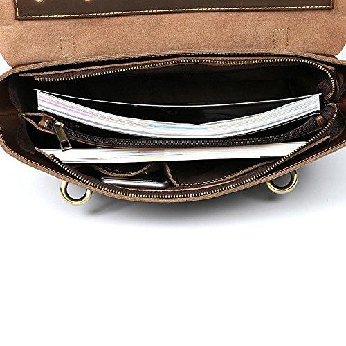 Herren Ledertasche Aktentasche laptop business Freizeit Retro Laptoptasche 14  Umhängetasche Handtasche Messenger Arbeitstasche coffee m3D9AU