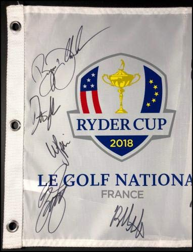 2018 Ryder Cup Autographed Signed Field Flag Mcilroy Fowler Johnson Rose Coa JSA Certified Autographed Pin Flags