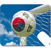 Luxlady Gaming Mousepad 9.25in X 7.25in IMAGE: 34489288 South Korea flag and soccer ball football in goal net