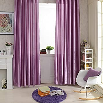 M Egal New Rod Pocket Top Solid Color Satin Curtain Panel Window Curtains Purple