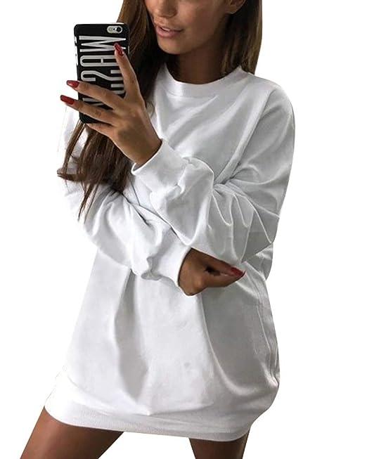 95c6a3f13bc4 Minetom Pullover Lungo Donna Oversize Sweatshirt Maniche Lunghe Vestito  Felpe Autunno Invernale Tinta Unita Mini Abito Casual Maglietta Jumper Tops   ...