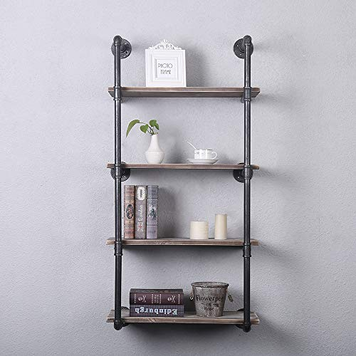 GWH Industrial Pipe Shelving Wall Mounted,24in Rustic Metal Floating Shelves,Steampunk Real Wood Book Shelves,Wall Shelf… 1