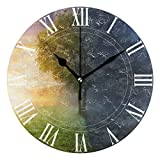 WellLee Night Day Landscape Life Tree Clock Acrylic Painted Silent Non-Ticking Round Wall Clock Home Art Bedroom Living Dorm Room Decoration