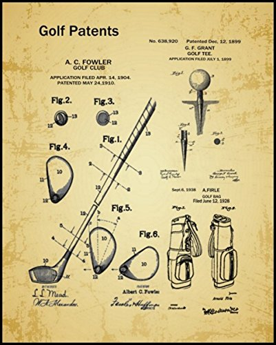 The Print Archive Golf Patent Collage Framed