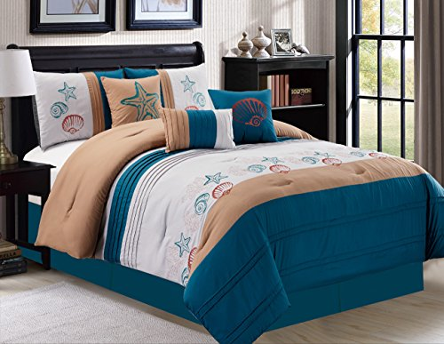 Modern 7 Piece Bedding Navy Blue White Brown Tropical