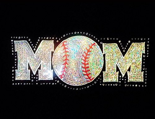 Mom with Baseball as the O - Rhinestone and Sequin (Bling Iron Ons)