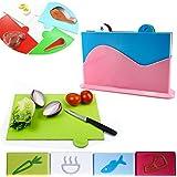 Set kit pack conjunto de cocina de 4 tablas de cortar alimentos comida platos cortadores de pvc incluye soporte mws1091