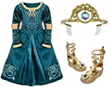 Disney Store Brave Hero Princess Merida Deluxe Costume Set for Girls Including Adventure Dress (Size XS 4) with Matching Gladiator Sandals/Shoes (Size 9/10) and Tiara Crown