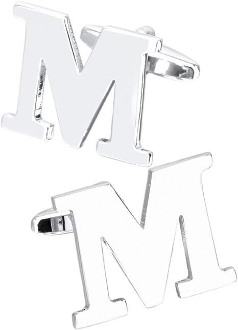 AZUO Gemelos Camisa De Hombre De Metal, Inicial Alfabeto Letra Gemelos para Hombres Camisa, Plata Acero Inoxidable, Ideal para Negocio Boda, M: Amazon.es: Deportes y aire libre