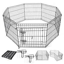 "AMPERSAND SHOPS Small Animals Metal Pet Playpen Enclosure Customizable 8-Panels with Double Latch Door Rust-Resistant (24"" Height)"