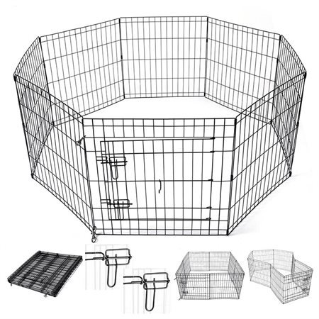 AMPERSAND SHOPS Small Animals Metal Pet Playpen Enclosure Customizable 8-Panels with Double Latch Door Rust-Resistant (24'' Height) by AMPERSAND SHOPS