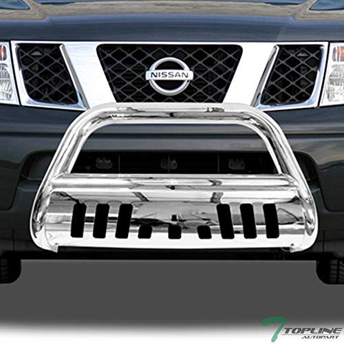Topline Autopart Polished Stainless Steel Bull Bar Brush Push Front Bumper Grill Grille Guard With Skid Plate For 05-18 Nissan Frontier ; 05-07 Pathfinder ; 05-15 Xterra