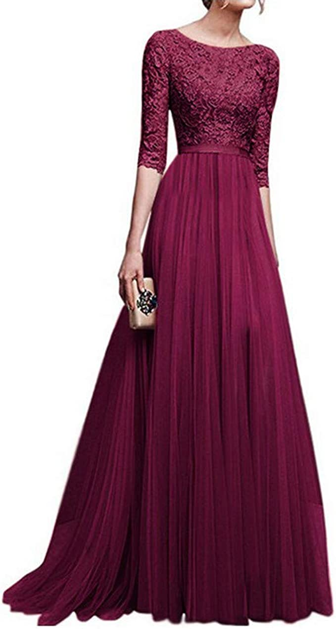 Kleid Kolylong Damen Elegant Hohe Taille Blumenspitze Kleid 12/12 arm Vintage  Spitzenkleid Lang Chiffon Swing Kleid Maxikleid Ballkleid Cocktail Party