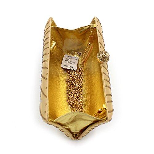 Flada mujeres y señoras caliente perforación rhinestones flor noche embrague bolso monedero con cadena verde Oro