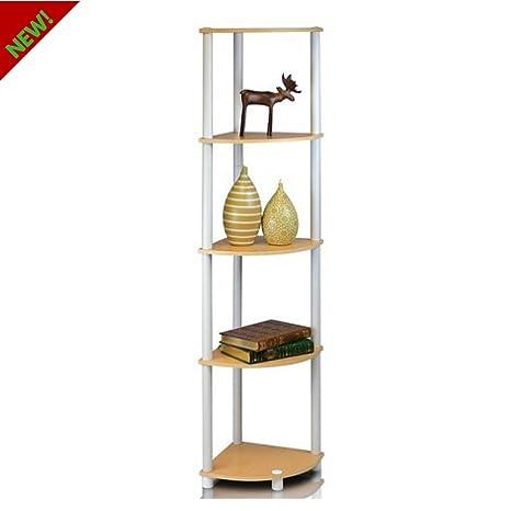 Amazon Com Small Bookcase Five Shelf Corner Bookshelf Bookcase