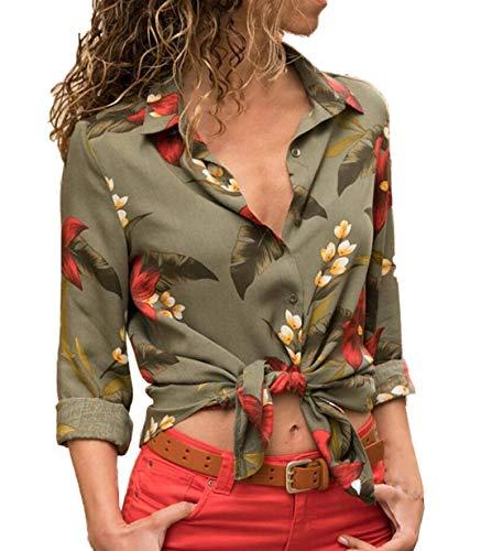 Tops Manches Raye Casual Chemises Jours Mode et Longues Blouses de Femmes Shirts Patchwork Tous Chemisiers Automne Smalltile Les Hauts Vert2 Revers Printemps wZATYxqU