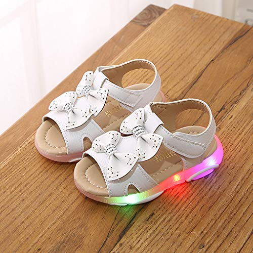 Baby Toddler Girls Summer Light Up Walking Sandals for 1-6 Years Old Kid Bowknot Led Luminous Sport Sandals Shoes