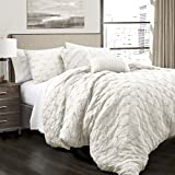 Lush Decor Lush Décor Ravello Pintuck 5 Piece Comforter Set, Full/Queen, White