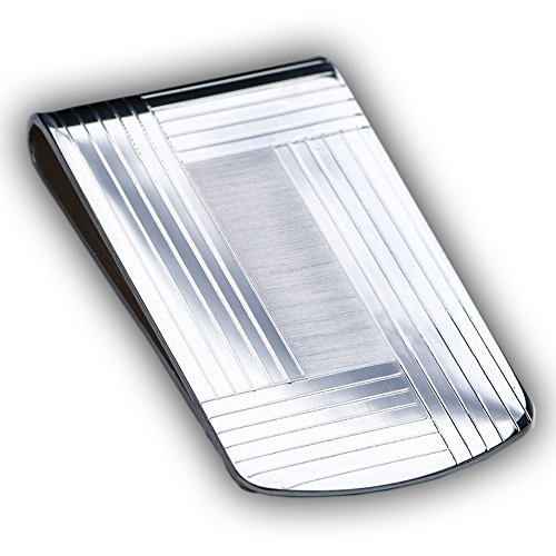 Large Sterling Silver .925 Elegant Solid Stripe Design Engravable Money Clip, Designed and Made In Italy. By Sterling Manufacturers by Sterling Manufacturers