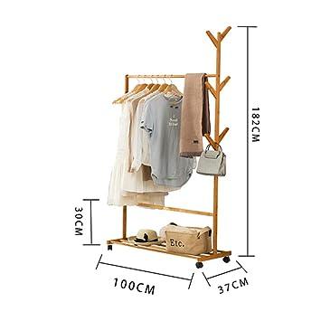Amazon.com: Perchero de bambú, soporte para abrigos, soporte ...