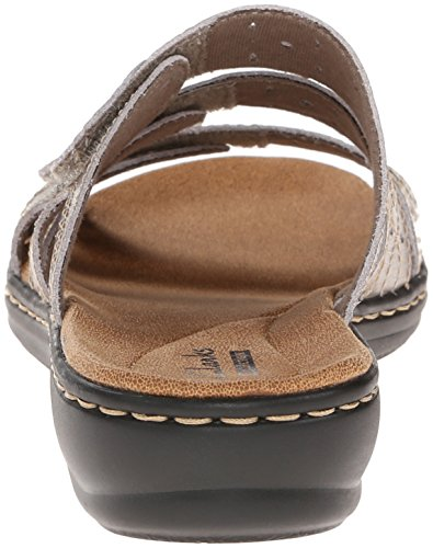 Leather Flat Pewter Cacti Women's Leisa Q Clarks Sandals npHqAw7