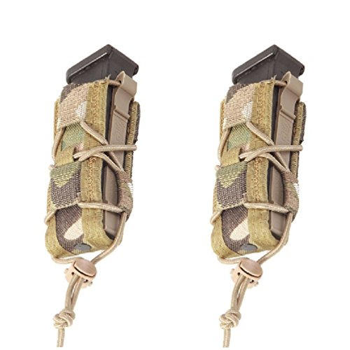 High Speed Gear Pistol TACO MOLLE Single Mag Pouch, Made in the USA - MultiCam, 2 Pack