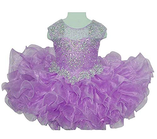 M_RAC Baby Girls Ruffled Crystal Tutu Newborn Kids Pageant Cupcake Dress 4 US Lavender ()