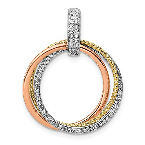 1/6-Carat Diamond Moveable Circles Pendant in 14K Tri-color Gold from Roy Rose Jewelry