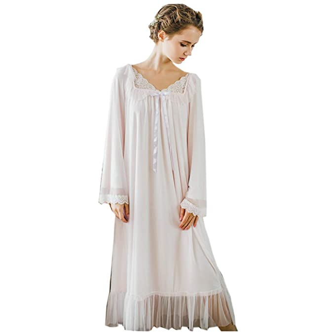 Vintage Nightgowns, Pajamas, Baby Dolls, Robes Womens Long Sheer Vintage Victorian Lace Nightgown Sleepwear Pyjamas Lounge Dress Nightwear $36.98 AT vintagedancer.com