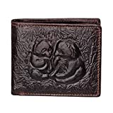 Men's Leather Wallet Carved Panda Bifold Business ID Cards Case, Short