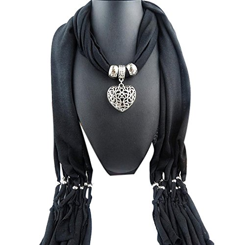 Besde Fashion Women Lady Girl Winter Heart Gemstone Necklace Scarf Lady Tassel Warm Scarves (Black Glove With Heart And Stones)