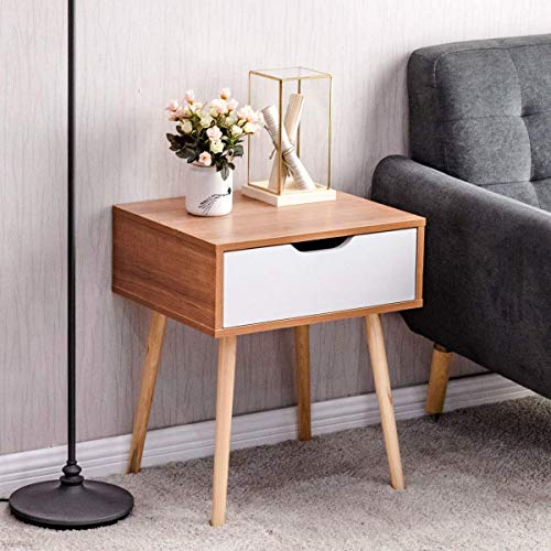 Giantex Nightstand W/Storage Drawer and Wooden Leg Accent Elegant Style for Living Room Bedroom Home Furniture Side Sofa End Table (1)