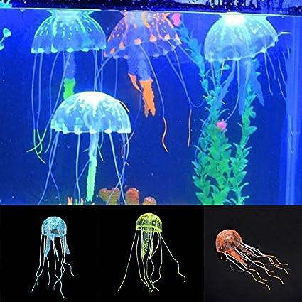 GUOYIHUA Acuático Mascotas Suministros Glowing Efecto Artificial Fake Jellyfish para pecera Tank Decoración Adorno