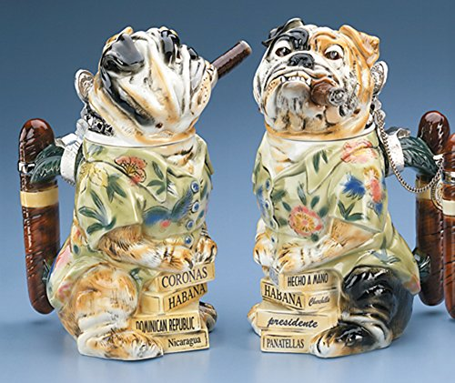 Bulldog Stein w/ Cigar Man's Best Friend Figurine Collection German Beer Stein Limited Edition by GermanStein